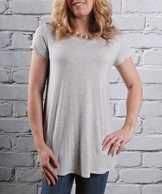 Look at this Olivia & Jane Light Gray Crewneck Tunic on #zulily today!