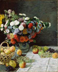 Artist: Claude Monet French Impressionist Master, 1840 – 1926 Title: Flowers and Fruit Completion Date: 1869 Style: Impressionism Oil on canvas Genre: still life , from Iryna Claude Monet, Monet Paintings, Impressionist Paintings, Impressionism Art, Edgar Degas, Monet Poster, Painting Prints, Art Prints, Getty Museum
