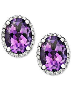 14k White Gold Earrings, Amethyst (3 ct. t.w.) and Diamond (1/8 ct. t.w.) Oval Studs