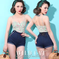 double-breasted high pockets hip denim shorts #pin-up