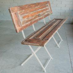 2 volets en bois + 2 chaises de jardin = 1 banc campagne /furniture - recycled window shutters and garden chairs / L'estoc