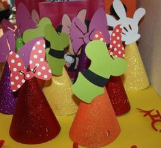 Mickey Mouse Clubhouse birthday party hats made using the Mickey and friends cricut cartridge