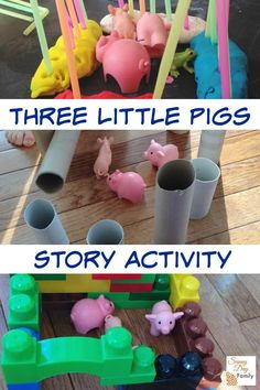 Three Little Pigs story activity for kids. Bring the Three Little Pigs story to life with this fun activity that kids will love! You'll never believe how she made the pigs' houses out of everyday things you have at home! 3 Little Pigs Activities, Fairy Tale Activities, Preschool Activities, Princess Activities, Kindergarten Themes, Learning Activities, Fairy Tale Crafts, Fairy Tale Theme, Pig Crafts