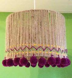 Lámpara Artesanal - Realizada Con Hilo Sisal Y Lanas. - $ 560,00