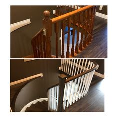 Upper rails and stairs refinished Cost Of Laminate Flooring, Flooring Store, Vinyl Plank Flooring, Wood Planks, Staircase Railings, Stairs, Radiant Heat, Indoor Air Quality, Home Renovation