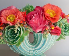Vintage Ceramic with succulents & poppies.... very California