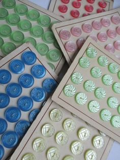 VINTAGE ITALIAN BUTTONS PRETTY PASTELS UNUSED ON SALES CARDS CRAFTS KNITTING noelhumphrey on eBay.co.uk