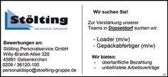 Stellenbezeichnung: Loader m/w und Gepäckabfertiger m/w für unser Team in Düsseldorf  Arbeitsort: 40210, Düsseldorf  Nordrhein-Westfalen Deutschland  Weitere Informationen unter: http://www.stellencompass.de/anzeige/139484/