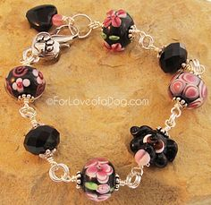 Pink and Black Dog Bracelet Floral Lampwork Silver Paw Heart.  OOAK handmade by For Love of a Dog