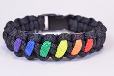 Make a Rainbow Colored Paracord Survival Bracelet with Buckle - BoredPar...