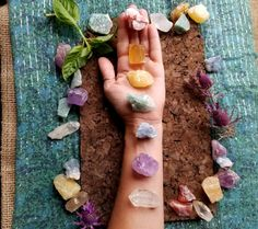 Includes Red Calcite, Honey Calcite, Pineapple Calcite, Green Quartz, Celestite, Ametrine, and a Clear Quartz point. Find it on Etsy for $29.00.