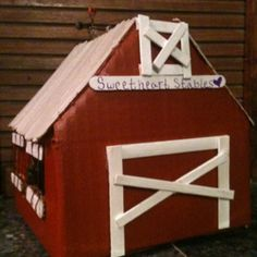 Valentine box (barn) could make it a horse barn........ similar to the gingerbread house at christmas