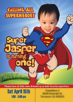 Baby Superman Invitation With Your Little Boy As Super First Birthday