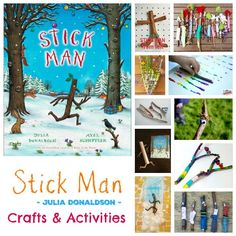 If you like us are a Julia Donaldson fan - and especially a fan of her books that have been illustrated by Axel Scheffler then this book is for you! Stick Man 'I'm Stick Man, Stick Man, Stick Man. Man Projects, Projects For Kids, Man Crafts, Arts And Crafts, Julia Donaldson Books, Reading Tree, Craft Activities, Activity Ideas, Winter Activities
