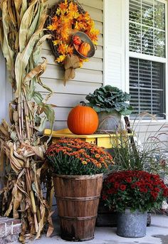 s these 17 fall porch ideas will give you that yummy warm feeling, porches, The cute hanging bowl with tiny pumpkins