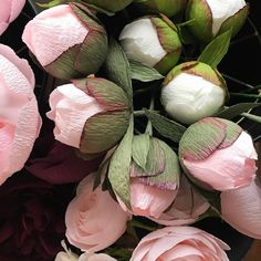 While it might not look or feel at all like Spring in Virginia right now, my studio is starting to! I've got a whole bunch of new blooms in the works that I could not be more excited about. And I'm working away to get new peony orders shipped out asap. Flowers Roses Bouquet, Faux Flowers, Diy Flowers, Fabric Flowers, Crepe Paper Roses, Paper Peonies, Paper Flower Decor, Flower Crafts, Paper Bouquet