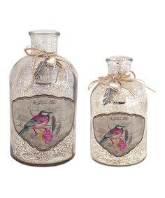 Look at this #zulilyfind! Decoupage Mercury Glass Bottle Set #zulilyfinds