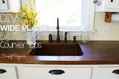 DIY Wide Plank Butcher Block CounterTops Plus Sink And Black Faucet Plus White Cabinet For Kitchen Furniture Ideas