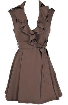 Ruffle Collar Belted Waist Dress in Coffee