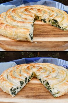 Our recipe for rolled puff pastry with spinach and ricotta filling is easy to ma. - Our recipe for rolled puff pastry with spinach and ricotta filling is easy to make & perfect for a - Puff Pastry Recipes Savory, Spinach Puff Pastry, Vegetable Pie Puff Pastry, Recipe For Puff Pastry, Puff Pastry Quiche, Pastries Recipes, Puff Recipe, Savoury Slice, Savoury Pies