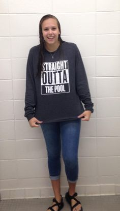 """@lovetoswimMN """"Why is your hair wet?"""" @SwimWithIssues (SwimWithIssues Straight Outta The Pool Long Sleeved Dark Heather Gray)"""