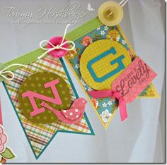 Spring Banner by Tammy Hershberger Bunting Garland, Garlands, Spring Banner, Sno Cones, Pretty Pink Posh, Spring Decorations, Sending Hugs, Diy Banner, Jelly Beans