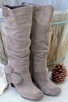 Naughty Monkey/Not Rated - Jolt Dark Suede Leather Slouch Boot Crazy Shoes, Me Too Shoes, Cute Boots, Women's Boots, High Boots, It Goes On, Me Time, Brown Boots, Suede Leather