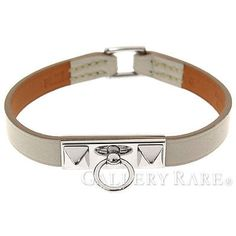 Auth-HERMES-Bracelet-Micro-Rival-Size-S-Stamp-Q-Swift-Leather-Gray-GR-1787269