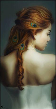 Beautiful Digital Portraits by Igor Grushko | Cruzine Digital Portrait, Fantasy Girl, Fantasy Women, Peacock Hair, Peacock Pics, Portraits, Hair Feathers, Peacock Feathers, Beauty Illustrations