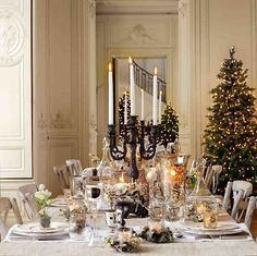 beautiful tablescapes for christmas | Elegant Christmas tablescape features twin wrought iron candelabras ...