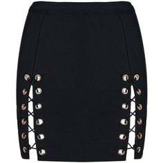 Honey couture kyla black lace up split bandage mini skirt ($150) ❤ liked on Polyvore featuring skirts, mini skirts, bottoms, saia, mini skirt, lace up skirt, bandage skirt, lace up front skirt and short skirts