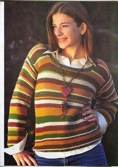 Muy fácil de tejer y queda lindísimo! Pueden combinar los colores que mas les gusten o tejerlo todo del mismo color variando solo el cuello, puños y cintura. Ideal para las que están recién empezando con los sweaters.