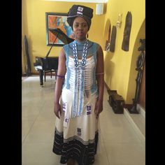 Traditional Xhosa dress ; beads African Wedding Attire, African Attire, African Dress, African Outfits, African Traditional Wedding, African Traditional Dresses, Traditional Outfits, African Beauty, African Women