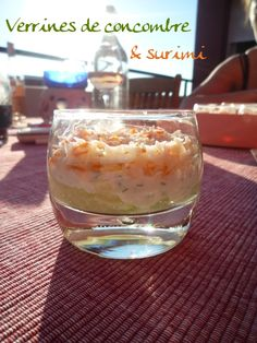 verrine-concombre-surimi (3) Oatmeal, Brunch, Pudding, Breakfast, Desserts, Recipes, Food, Table, Salad