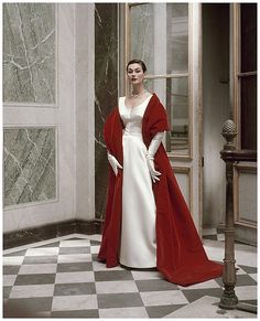 Dovima, wearing Cristóbal Balenciaga for US Vogue 1950:  1948-1963 was the Golden Era of Womens' Couture.