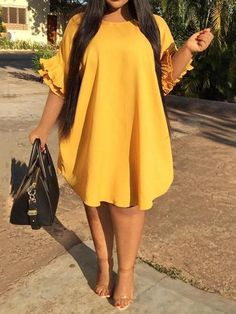 Summer Boho Plus Size Party Yellow Casual Sexy Club Women Midi Dresses Elegant Ruffle Sleeve Plain African Fashion Chic Dress