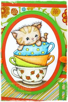 Paperesse: Cute kitten 'Hi' card featuring Di's Digistamps Kitty ...
