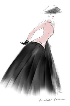 Fashion sketch by Linda Zoon Inspired by Christian Dior 'New Look'