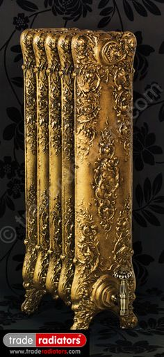 Saint Paul Cast Iron Radiator finished in Antiqued Gold Victorian Radiators, Old Radiators, Cast Iron Radiators, How To Antique Wood, Antique Gold, Outdoor Wood Furnace, Metalarte, Home Interior Accessories, Antique Stove