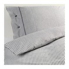 NYPONROS Dynebetræk og 1 pudebetræk, grå grå 140x200/60x70 cm