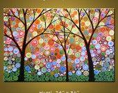 Art paysage coloré abstrait grande peinture modernes arbres... 24 x 36... Nuits de splendeur, par Amy Giacomelli