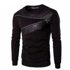 Mens Leather Patchwork Zipper Decoration Sweatshirt