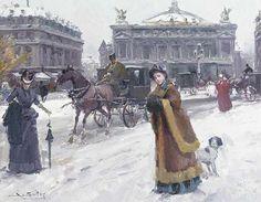 Juan Soler Figures in the snow before the Opera House, Paris