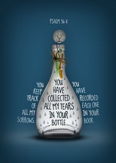 You keep track of all my sorrows. You have collected all my tears in your bottle. You have recorded each one in your book. __Psalms 56:8 NLT__