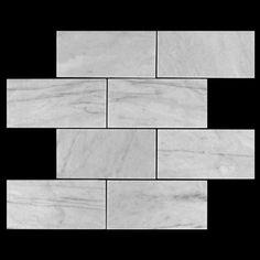 x Carrara White Marble Subway Tile Polished Marble Subway Tiles, Carrara Marble, Hexagon Mosaic Tile, Black Grout, New Bathroom Ideas, Metro Tiles, Italian Marble, Commercial Flooring, Floor Colors