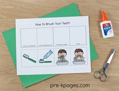 How to Brush Your Teeth Sequence Activity for Preschool. Perfect for promoting dental health and regular tooth brushing at home or in the classroom.