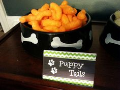 Puppy Tails (cheese puffs)- Paw Patrol Party---Image Only Puppy Birthday Parties, Puppy Party, Dog Birthday, Third Birthday, Birthday Party Themes, Birthday Ideas, Paw Patrol Party, Paw Patrol Birthday, Cumple Paw Patrol