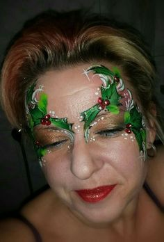 Wow Face Painting Designs, Paint Designs, Body Painting, Christmas Makeup, Christmas Ideas, Christmas Face Painting, Paint Effects, Face Paintings, Face And Body