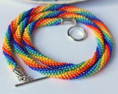 Rainbow seed beads necklace/Kumihimo/Braided/Rope/Summer/Beach/Hippie/Everyday Simple Jewellery/Lariat/Colourful/Unusual/Beadwork/Original
