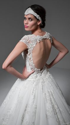 jillian 2017 bridal cap sleeves deep v neckline heavily embellished bodice gorgeous glamorous ball gown a  line wedding dress keyhole back long train (mabelle) zbv